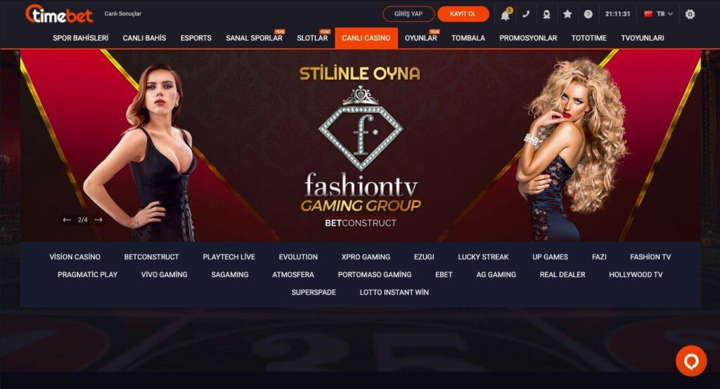 Timebet Canlı Casino Sayfası